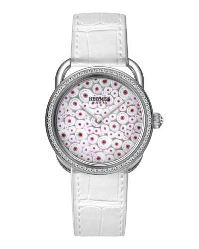 34mm Arceau Millefiori Watch with Diamonds, White/Red