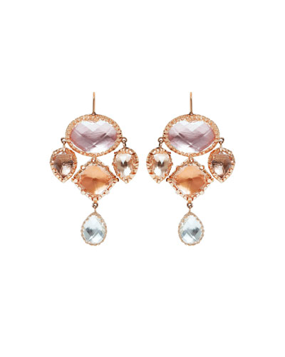 Sadie Girasole Drop Earrings in Multi-Peach Foil