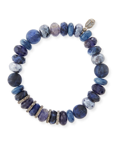 12mm Beaded Bracelet with Diamonds, Blue Mix