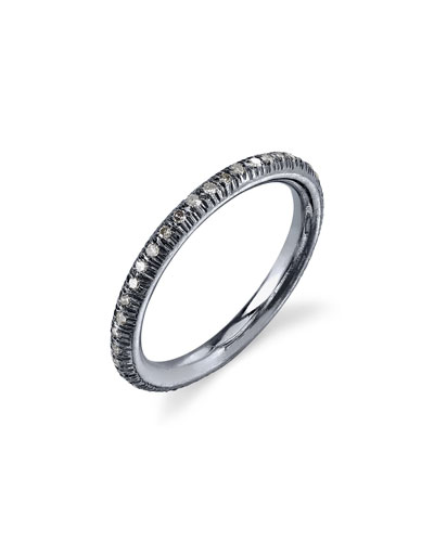 Pave Diamond Donut Stacking Band Ring, Size 7.5