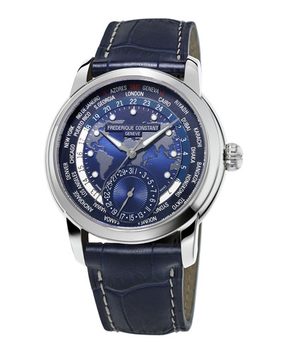 42mm Gents World Timer Manufacture Watch, Blue