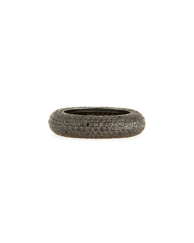 Black Rhodium-Plated Ring with Black Diamonds, Size 7