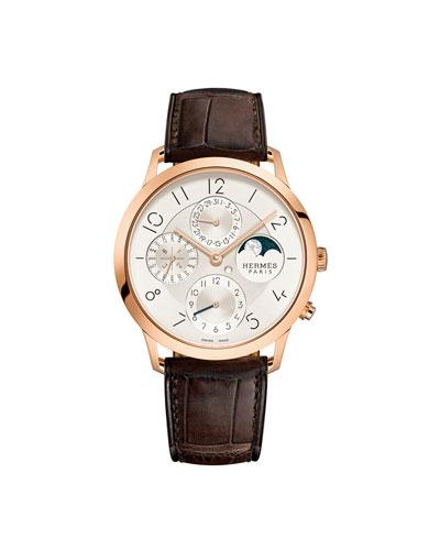 39.5mm Slim d'Hermès Watch with Alligator Strap, Brown