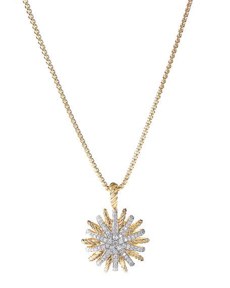 David Yurman Starburst 18mm Pendant with Diamonds in Gold on Chain