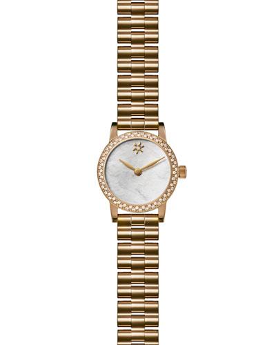 Agnes Varis 20mm Bracelet Watch with Diamonds, White/Golden