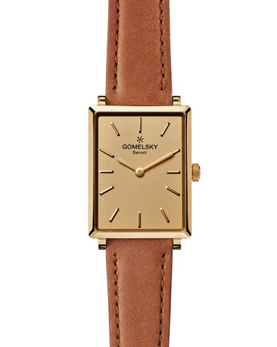 Shirley 32mm Leather Strap Watch, Bourbon/Golden