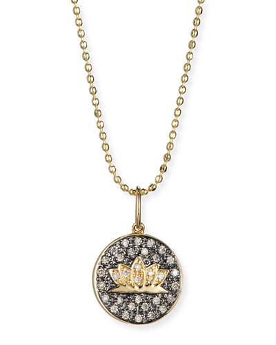 Lotus Medallion Necklace with Diamonds