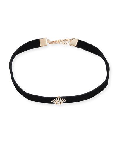Velvet Choker Necklace with Diamond Evil Eye Station