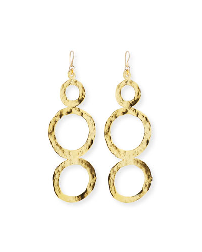 Double Circle Gold Hammered Turquoise Drop Hoop Earrings
