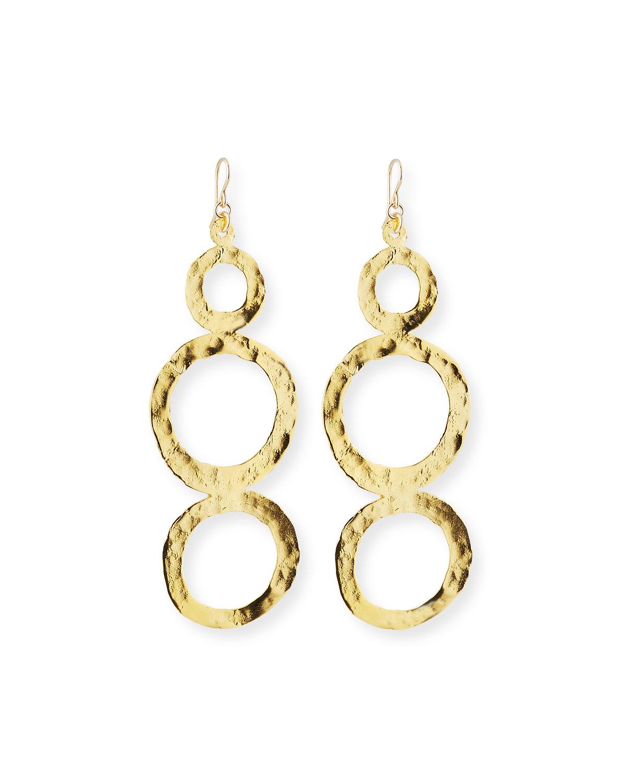 Hammered Multi-Circle Drop Earrings