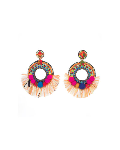 Beaded Raffia Statement Clip-On Earrings