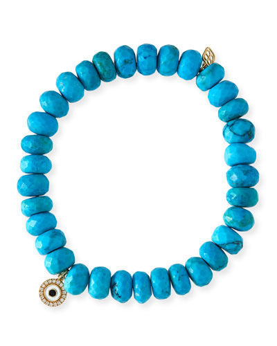 8mm Dark Turquoise Beaded Bracelet w/ 14k Diamond Evil Eye Charm