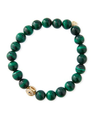 14k Gold, Malachite & Evil Eye Bracelet