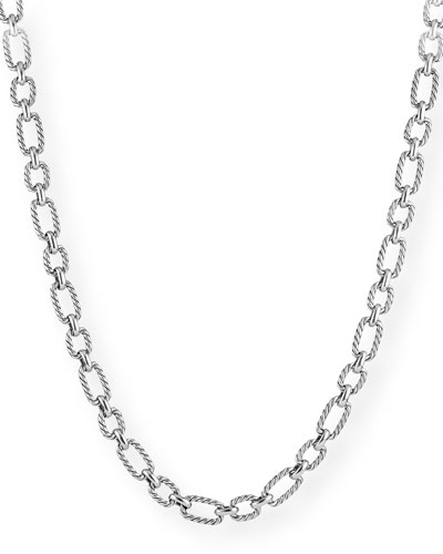 Cushion-Link Chain Necklace w/ Blue Sapphires