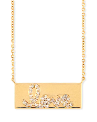 Pavé Diamond Love Bar Necklace