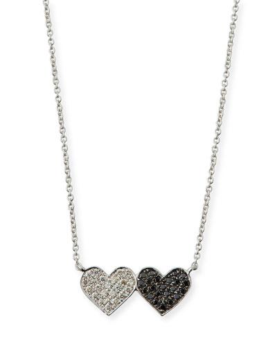 14k Double Heart Pendant Necklace