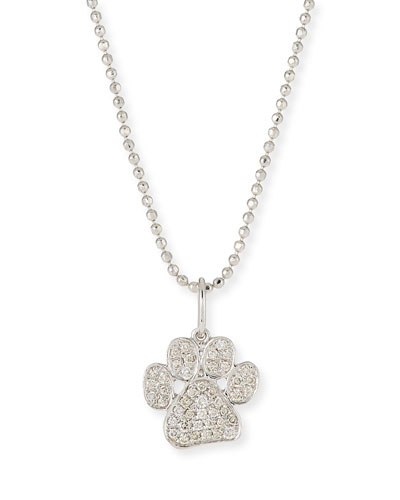 14k White Gold & Diamond Paw Pendant Necklace, 16