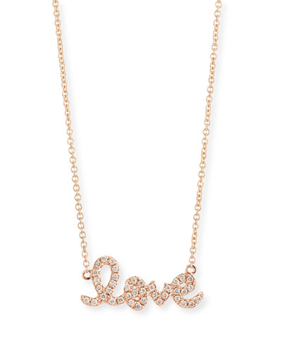 14k Rose Gold Diamond Love Pendant Necklace