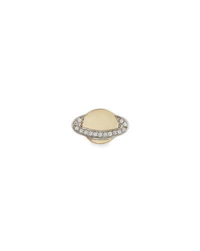 14k Small Saturn Stud Earring w/ Diamonds