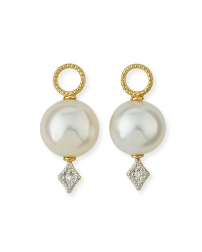 Lisse Large Pearl & Diamond Earring Charms
