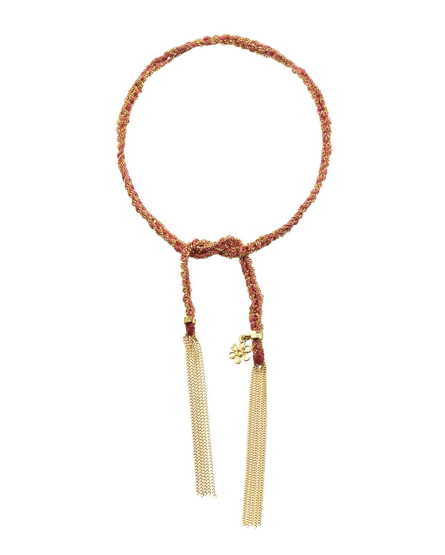 CAROLINA BUCCI 18K Gold Pink Silk Lucky Bracelet With Flower