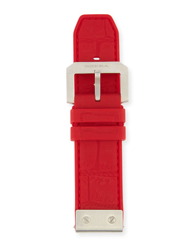 24mm Embossed Rubber Watch Strap, Red