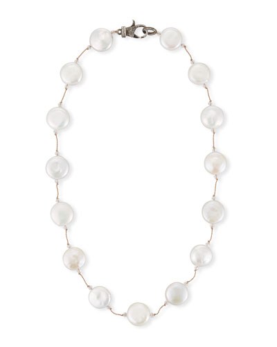 White Coin Pearl Necklace, 16
