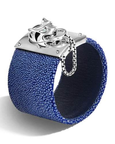 Legends Macan Silver Bracelet with Stingray Strap, Dark Blue