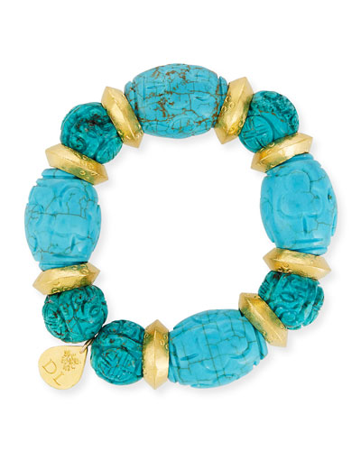 Carved Turquoise Bead Bracelet