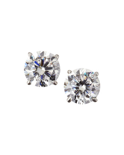 14k White Gold Cubic Zirconia Stud Earrings, 2.5 TCW
