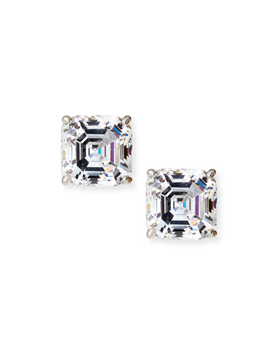 Square-Cut Cubic Zirconia Stud Earrings