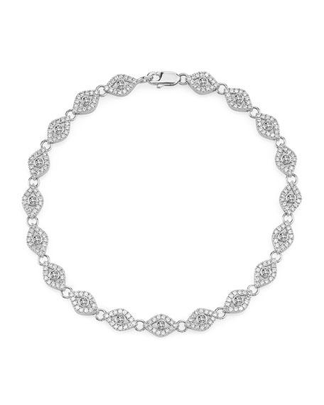 Sydney Evan Small Diamond Evil Eye Link Bracelet in 14K White Gold