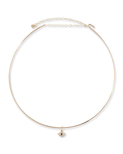 Mini Evil Eye Charm Collar Necklace in 14K Gold