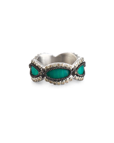 New World Teal Mosaic Scalloped Band Ring with Champagne Diamonds
