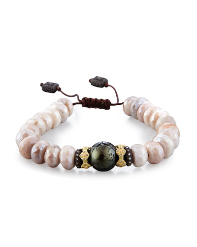 Old World Mystic Moonstone Bead & Carved Tahitian Pearl Bracelet with ...