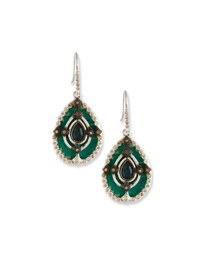 New World Teal Mosaic Earrings with Champagne Diamonds