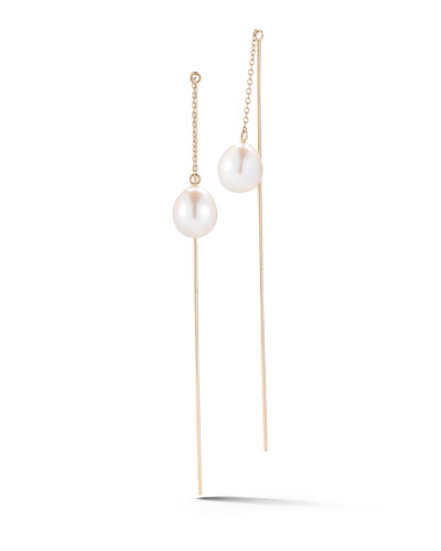 Thread-Through Pearl Chain Drop Earrings