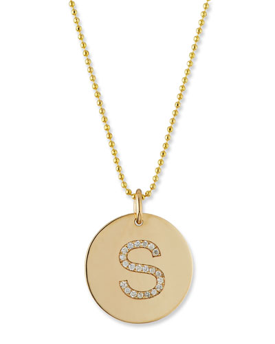 14k Pave Diamond Initial Disc Pendant Necklace