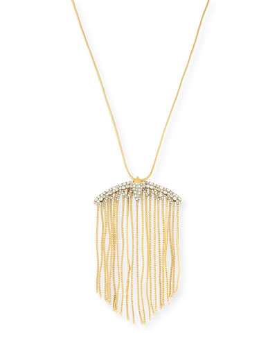 Crystal Lace Fringe Pendant Necklace, 32