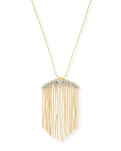 Crystal Lace Fringe Pendant Necklace, 32
