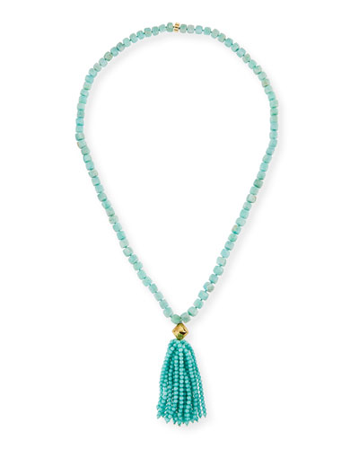 Amazonite Beaded Tassel Pendant Necklace, Blue