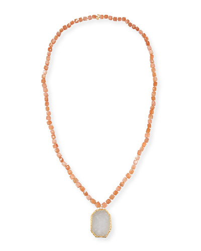 Beaded Moonstone Pendant Necklace, Pink
