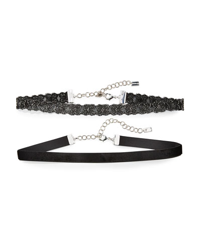 Black Flower Lace & Velvet Choker Necklace, Set of Two