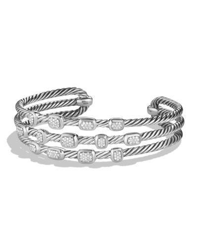 Confetti Narrow Cuff Bracelet with Diamonds