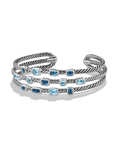 Confetti Narrow Cuff Bracelet with Blue Topaz and Hampton Blue Topaz