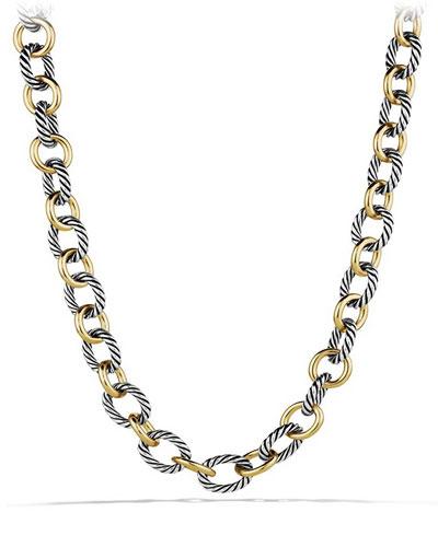 Large Sterling Silver & 18K Gold Oval Link Necklace, 18.25