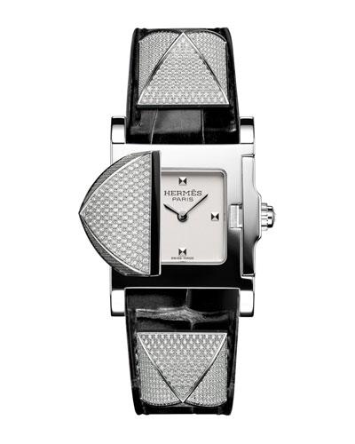 Medor Mini Watch with Diamonds & Black Alligator Strap