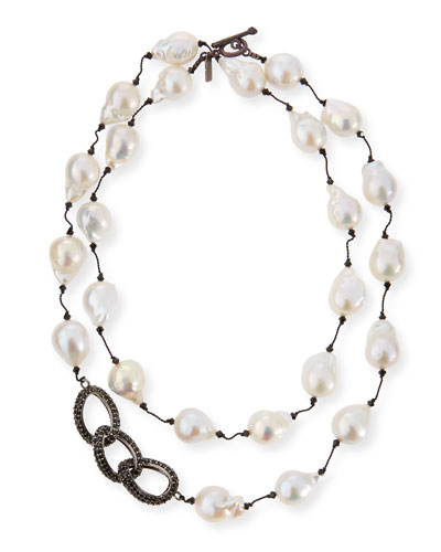 Baroque Pearl & Black Spinel Link Necklace, 35