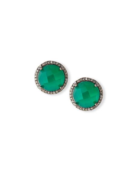 Margo Morrison Faceted Green Onyx & Diamond Earrings
