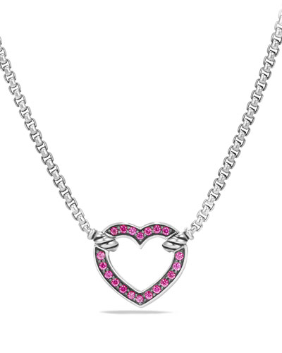 Valentine Hearts Pink Sapphire Station Necklace